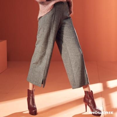 【SHOWCASE】復古高腰修臀壓褶前開岔西裝寬褲-灰