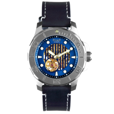 FIBER|海洋潛將系列|機械潛水錶 直紋鏤空藍
