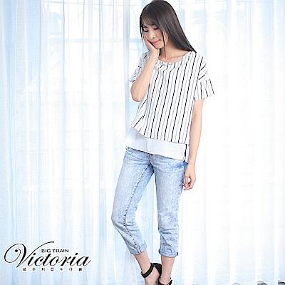 Victoria 中腰淺藍3色潑漆BF褲-女-淺藍