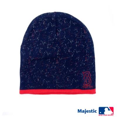 MLB-波士頓紅襪隊雪花電繡質感毛帽-深藍