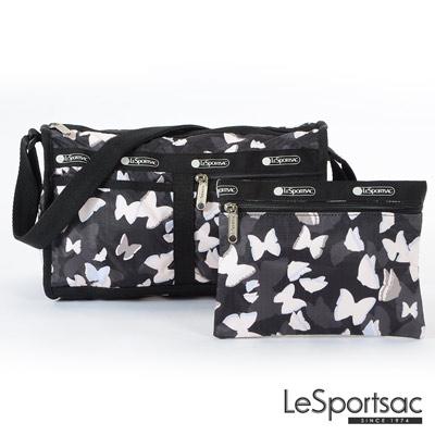 LeSportsac - Standard雙口袋斜背包-附化妝包(蝴蝶剪影)