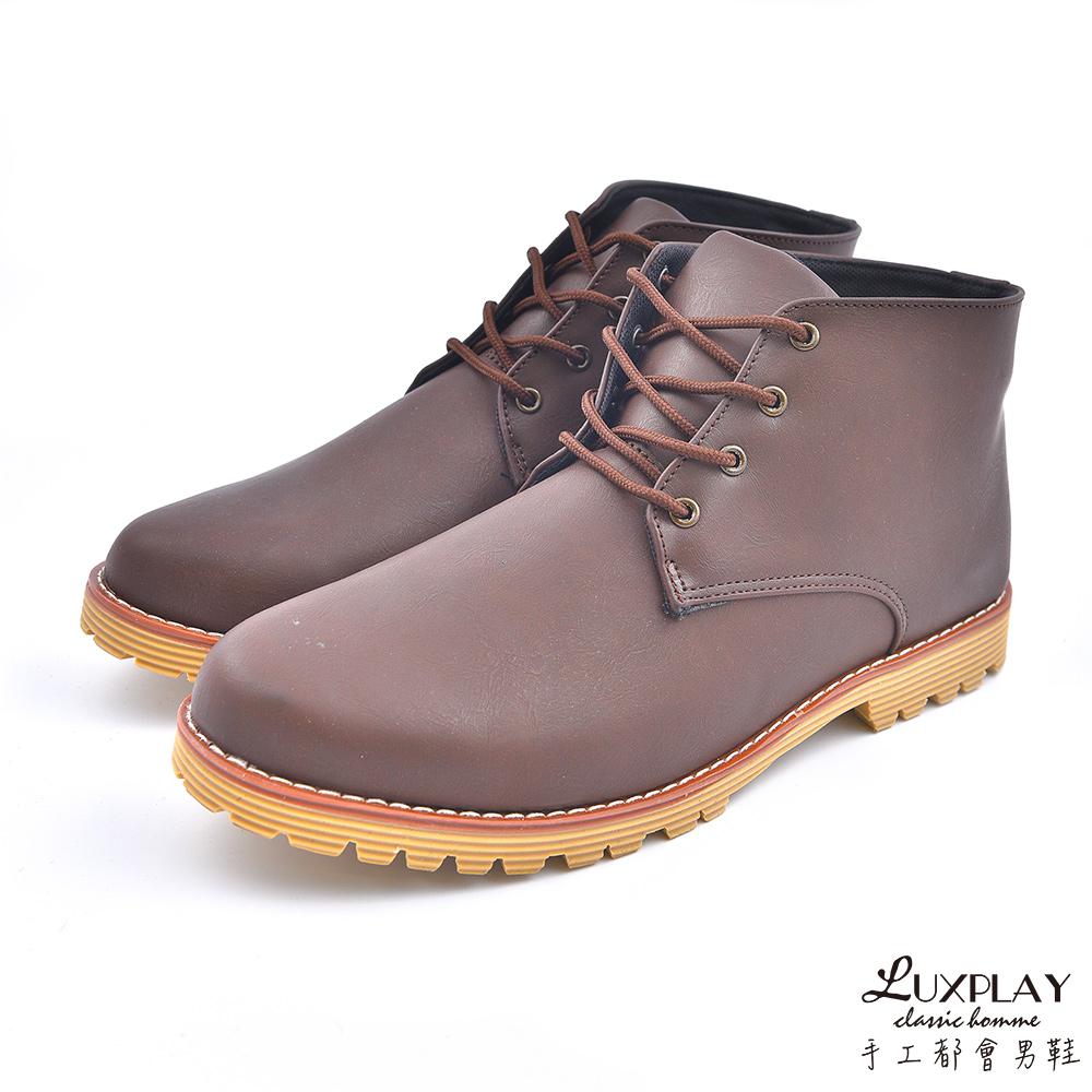 LUXPLAY  英倫時尚 高筒休閒鞋 WK259咖啡