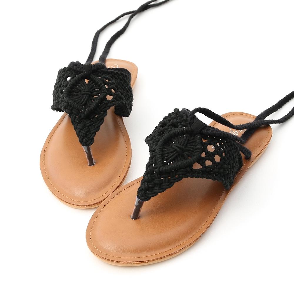 D+AF 波西米亞.手工針織綁繩夾腳涼鞋*黑