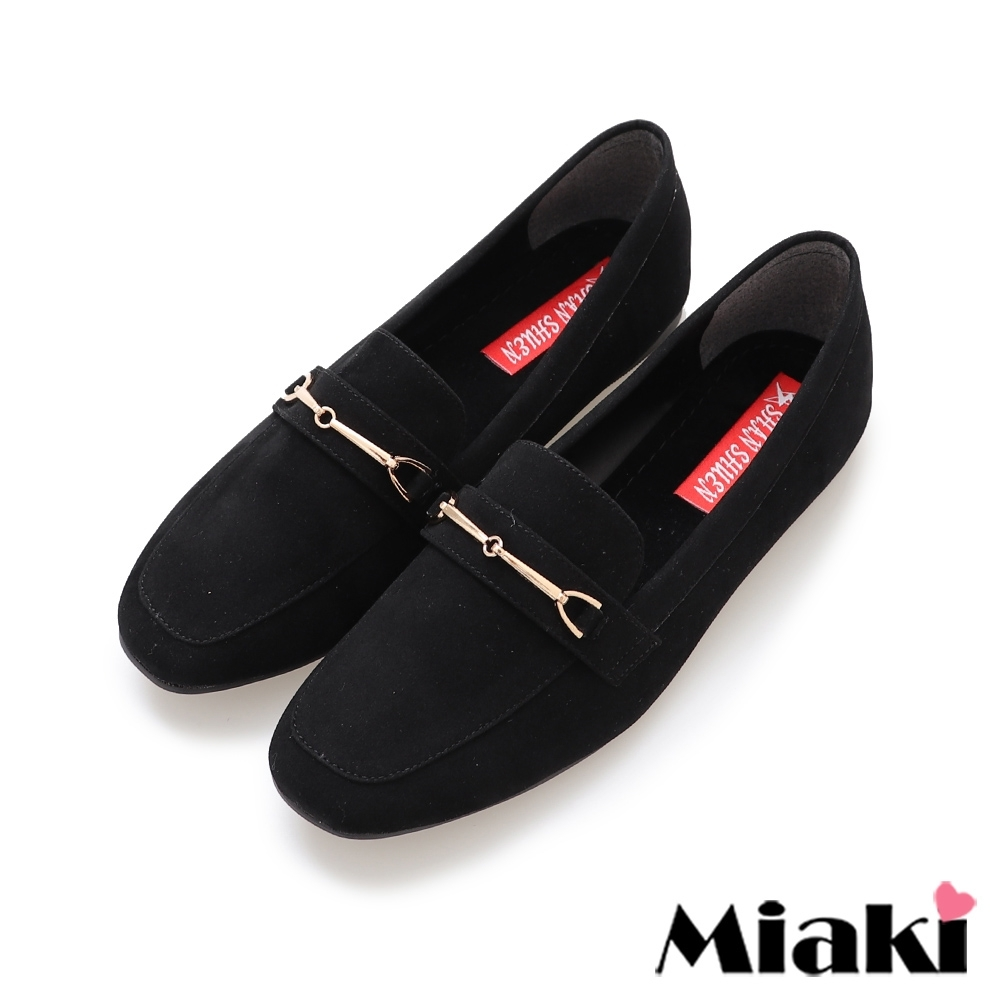 Miaki-樂福鞋素面絨料低跟通勤鞋-黑絨