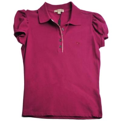 BURBERRY 戰馬刺繡LOGO格紋滾邊釦式短袖女POLO衫(紫/M號)