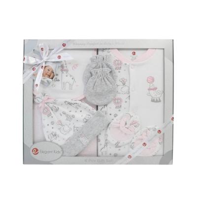 美國Elegant kids-粉色動物園6件式兔裝彌月禮盒