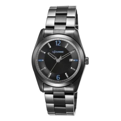 LICORNE 力抗錶 都會簡約系列 經典手錶-黑x藍/39mm