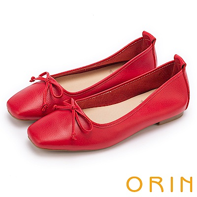 ORIN 氣質女孩 經典素面牛皮平底娃娃鞋-紅色