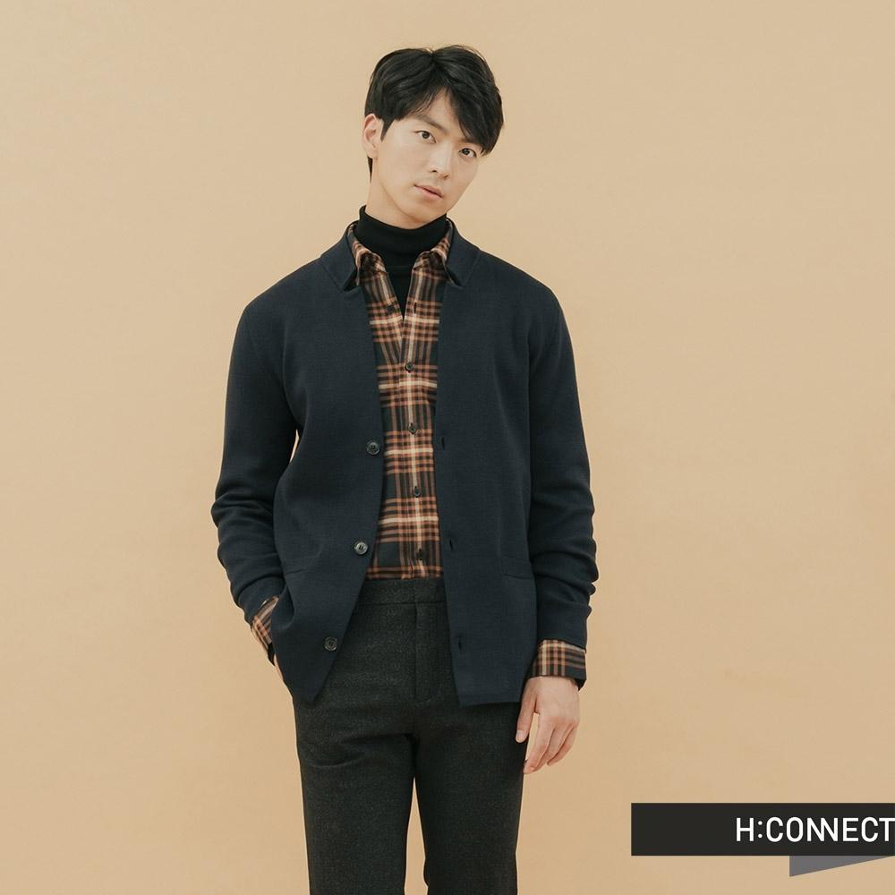H:CONNECT 韓國品牌 男裝-質感俐落針織外套-藍