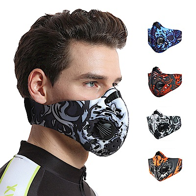 活力揚邑 多彩風戶外運動機車防風防塵防霾氣閥立體口罩