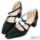 Ann'S修圖效果-顯瘦腳背斜帶沙發後跟粗跟方頭鞋-黑 product thumbnail 1