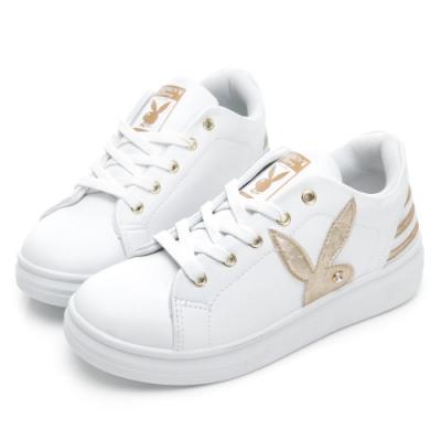 PLAYBOY 後跟潮流線條厚底休閒鞋-白金-Y570915