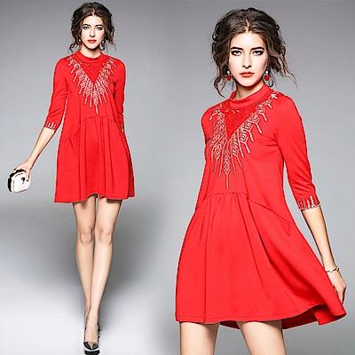 寬鬆七分袖刺繡短洋裝M-XL-M2M
