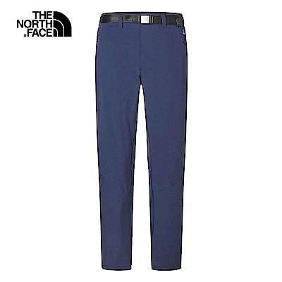 The North Face北面男款藍色防潑水針織拼接長褲|3RKVH2G