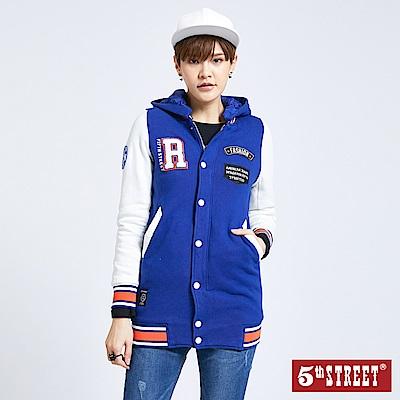 5th STREET 美式配色長版棒球外套-女-藍色