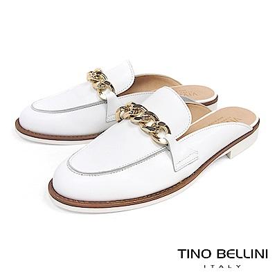 Tino Bellini 義大利進口環形鍊釦樂福MIX微跟穆樂鞋 _ 白