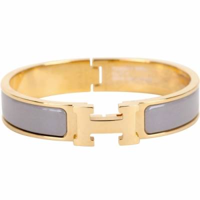 HERMES Clic H PM 經典LOGO設計手環(灰色x金)