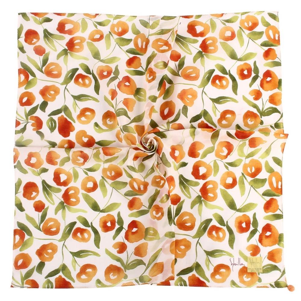 Sybilla 花團錦簇彩繪純綿帕巾領巾-橘色