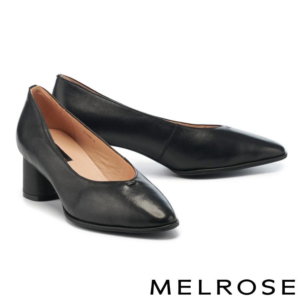 高跟鞋 MELROSE 極簡時尚純色全真皮尖頭粗高跟鞋-黑