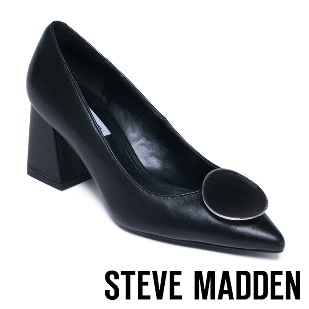 STEVE MADDEN BERNIE 經典微復古 圓扣真皮中跟鞋 黑色