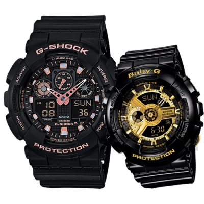 CASIO 卡西歐 雙色金屬 情侶手錶 對錶(GA-100GBX-1A4+BA-110-1A)