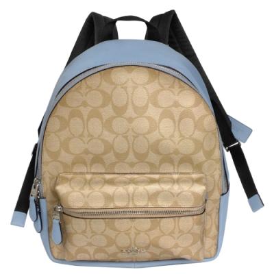 COACH MEDIUM CHARLIE淺卡C Logo水藍邊真皮後背包