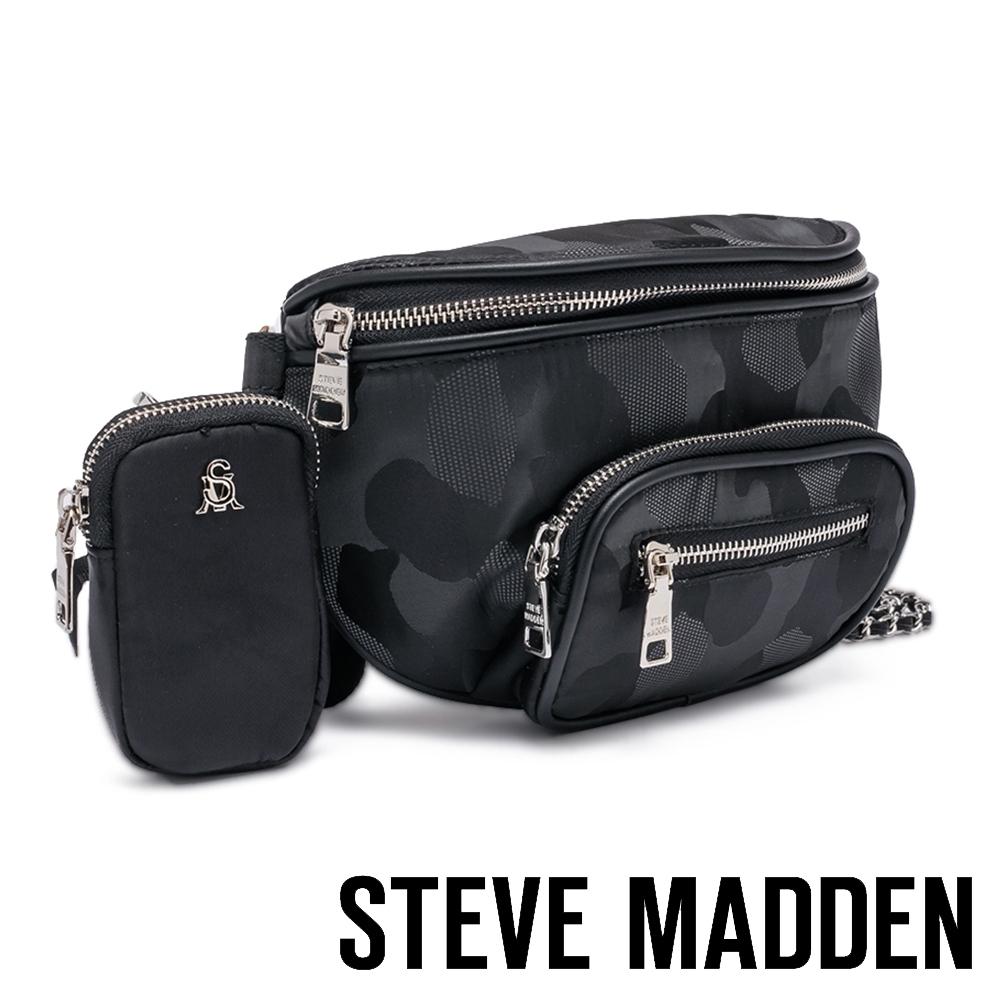 STEVE MADDEN-BREVERSE 時尚款 素面母子個性腰包-迷彩黑