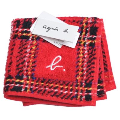 agnes b 刺繡b LOGO圖騰蘇格蘭格紋小方巾(紅)