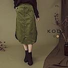 東京著衣-KODZ OL百搭質感開衩排釦中長裙-S.M.L(共二色)