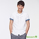 bossini男裝-棉麻印花短袖襯衫01白
