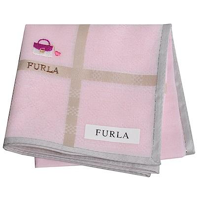 FURLA IT BAG 經典包包圖騰品牌字母LOGO帕領巾(粉紅系)