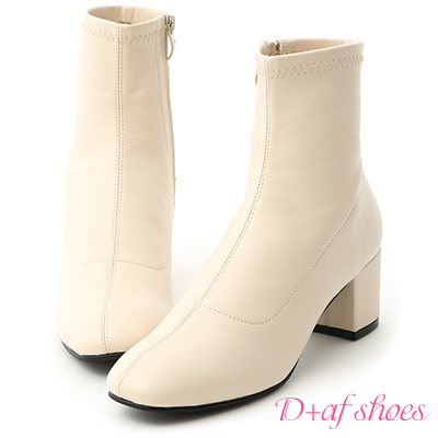 D+AF 秋冬定番.簡約素面方頭中跟短靴*米白