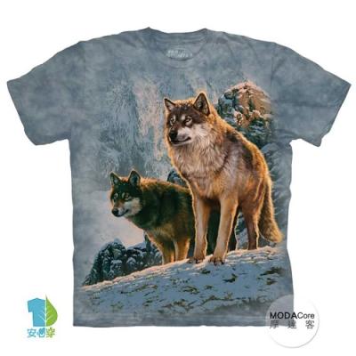 摩達客-美國進口The Mountain 日落雙狼 純棉環保藝術中性短袖T恤