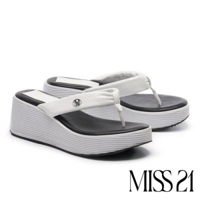 拖鞋 MISS 21 時髦復古超高堆疊層次羊皮人字厚底拖鞋-白