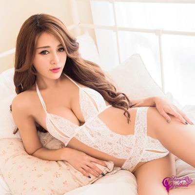 Sexy Cynthia情趣睡衣純白蕾絲織帶性感連身衣-白F
