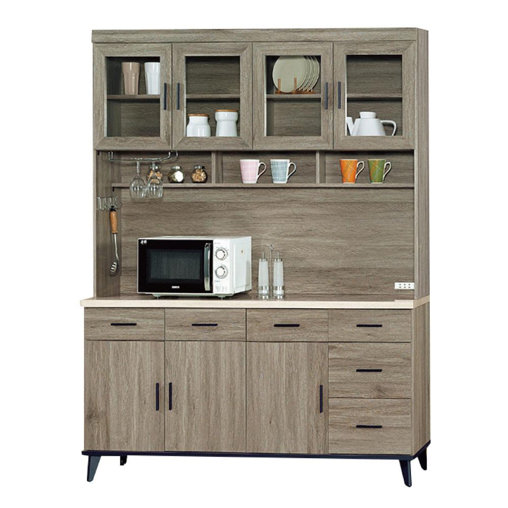 綠活居 波芬5.3尺仿石面餐櫃/收納櫃(上+下座)-160.4x43x202.2cm-免組
