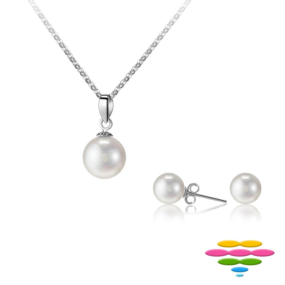 彩糖鑽工坊 8-9mm 淡水珍珠 18K項鍊&耳環 套組 簡愛系列