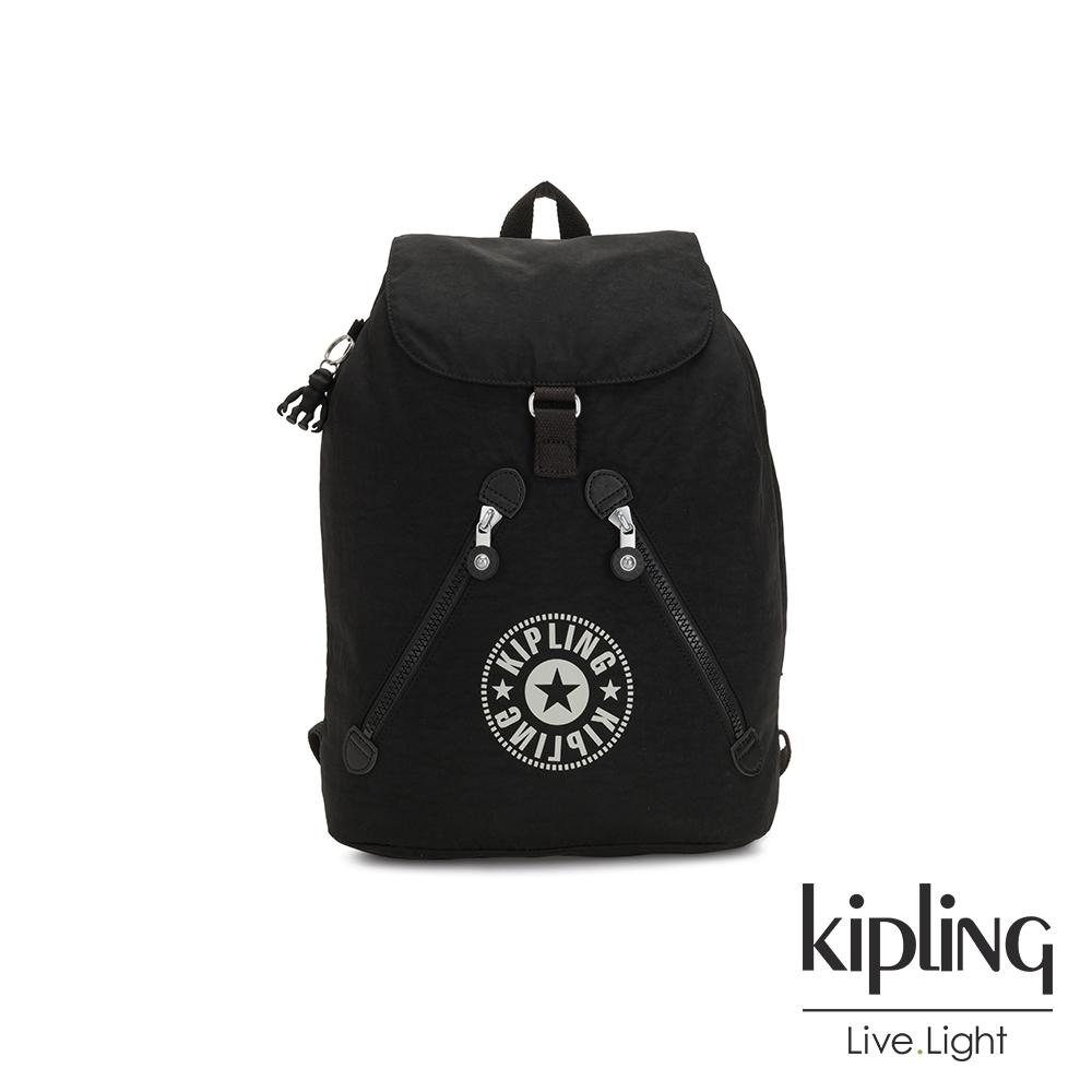 Kipling 俐落簡約經典LOGO黑色抽繩束口後背包-FUNDAMENTAL NC