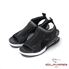 CUMAR悠遊輕井澤 -輕量化飛織布鑽飾運動風厚底拖鞋-黑