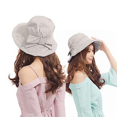 日本AUBE 側邊蝴蝶結可折疊抗UV遮陽帽(麻灰)