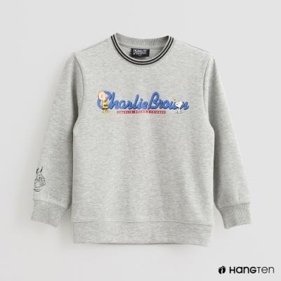 Hang Ten -童裝 - Charlie Brown-文字印花長袖上衣-灰