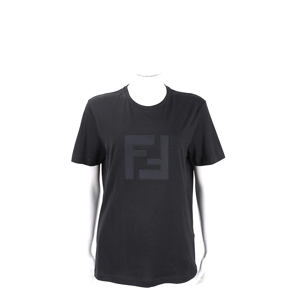 FENDI FF 黑色字母短袖T恤(男/女可穿)