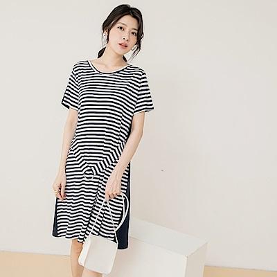 高含棉配色條紋拼接純色修身腰帶短袖洋裝-OB大尺碼