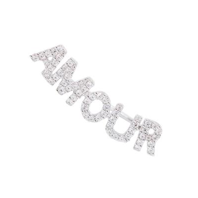 apm MONACO法國精品珠寶 閃耀銀色AMOUR字母單邊勾式耳環