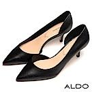 ALDO 原色不對稱鞋面流線尖頭細高跟鞋~尊爵黑色