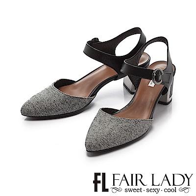 Fair Lady 優雅小姐 俏麗尖頭圓環扣粗金屬跟涼鞋 黑布紋