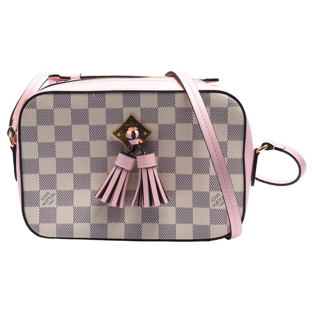 LV N40155 Saintonge帆布印花流蘇鑲飾牛皮飾邊手提/斜背包((粉紅色)