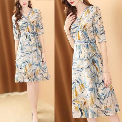 【KEITH-WILL】紐約時尚修身綁帶印花洋裝