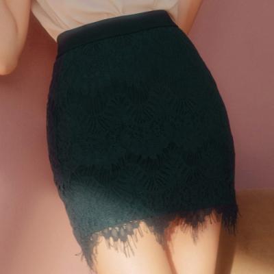 AIR SPACE 優雅女伶蕾絲窄短裙(綠)