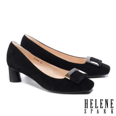 高跟鞋 HELENE SPARK 金屬拼接造型方釦羊麂皮方頭高跟鞋-黑
